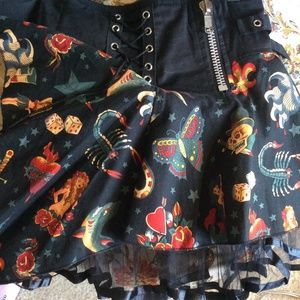 Hot Topic Skirts - LIVING DEAD SOULS Tattoo Art Mini Gothic Skirt